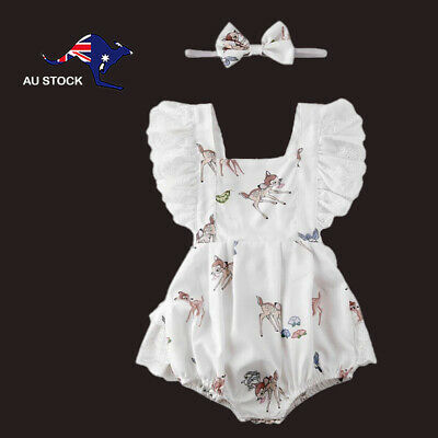 AU15 • Buy Baby Toddler Girl Clothes Summer Romper With Bambi Print