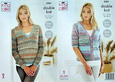 KNITTING PATTERN Ladies V-Neck Cardigan And Jumper Drifter DK King Cole 5581 • 3.95£