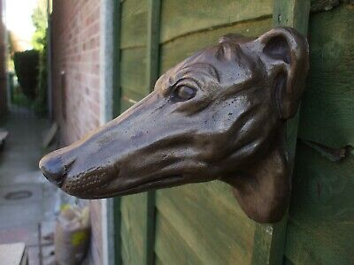 Large Bronzed Stone  Greyhound  Dogs Head Wall Sculpture • 20£