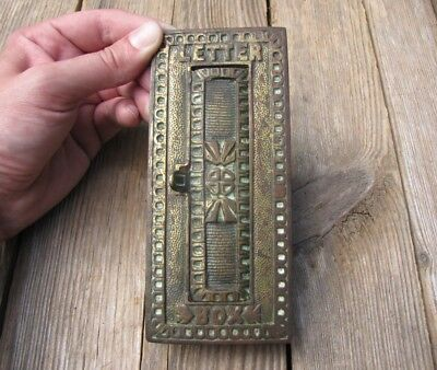 Antique Ornate Vertical Brass Letter Box Plate / Door Mail Slot / Mailbox • 39.99£