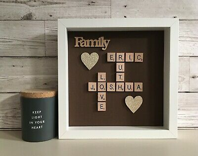 (a) Scrabble Picture Box Frame Word Art Personalised - Mocha Background • 26£