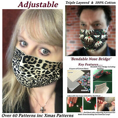 FACE MASK 3/ Triple Layer Filter Layer Adjustable, Nose 100% Cotton Washable UK  • 5.49£