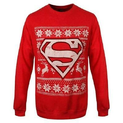DC Comics Superman Christmas Jumper Sweater - Unisex Red Xmas Holiday  • 14.99£
