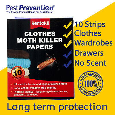 Clothes Moth Killer Papers Rentokil 10 Strips Indoors Pack Kills Protection • 4.95£