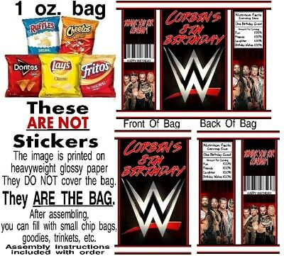 12 WWE Wrestling Birthday Party Chip Bags Favor Treat Gifts • 9.29£