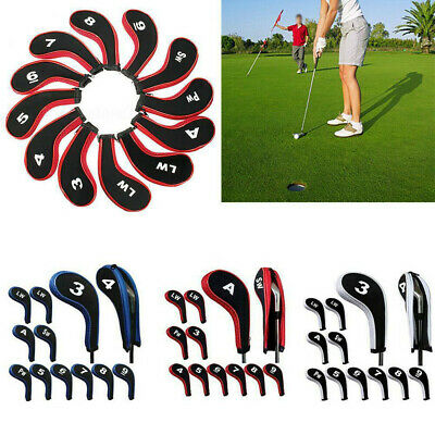AU16.08 • Buy 12 Pcs/set Golf Iron Clubs Head Covers Headcovers With Zipper Long Neck Protect.