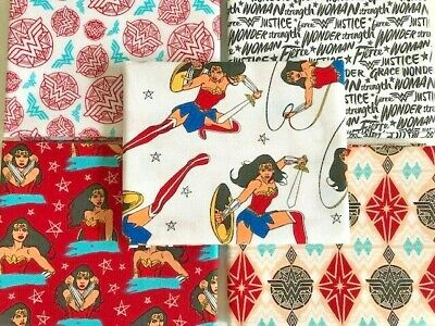 Wonder Woman, Superhero, Marvel DC Comics , 5 Fat Quarter Bundle, 100% Cotton • 8.70£