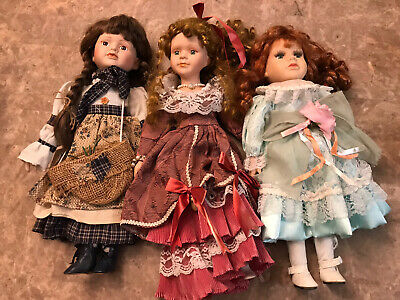 $ CDN39.63 • Buy Vintage Lot 3 Porcelain Dolls 1 Marked Cathay Red Head, Braids, Curly Fancy Dres