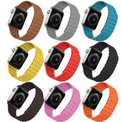 AU16.99 • Buy Leather Magnetic Loop Apple Watch Band Replacement IWatch Series SE 6 5 4 3 2 1