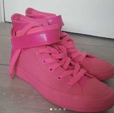 Converse All Star Chuck Taylor Hi Tops Neon Pink & Leather Rare Limited Edition • 25£