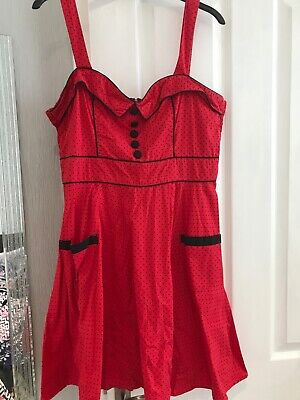 Hell Bunny Red Polka Dot Dress Size L • 0.99£