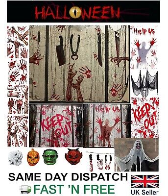 £3.69 • Buy HALLOWEEN DECORATIONS Window Stickers Cling Hanging Skeleton Bloody Zombie Party
