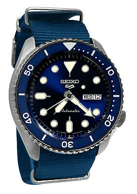 $ CDN218.03 • Buy Seiko 5 Sports Automatic SRPD87 Blue Day Date Dial Nylon Band Watch New