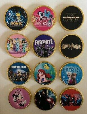 10 X THEMED CHOCOLATE COINS - PARTY BAG FILLERS / STOCKING FLLER - THEME D • 3.49£