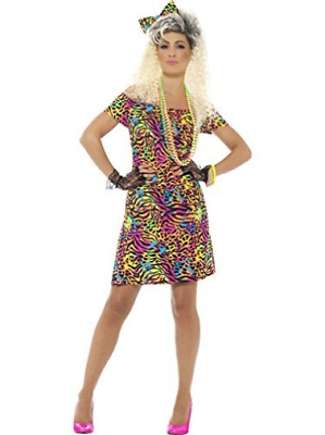 80s Party Animal Costume, Neon, With Dress & Hair Bow -  (Size: UK .. COST-W NEW • 13.48£