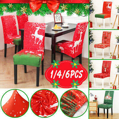 Christmas Dining Chair Seat Covers Slip Stretch Santa Claus Banquet Party Decor • 8.99£