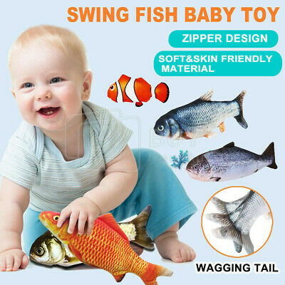 AU11.89 • Buy Electric Baby Toy Wagging Realistic Fish Short Plush Simulation Toy For Kids