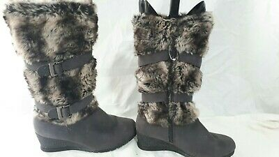 Pavers Ladies Grey Long Boots Fur Trim Size 5 / 38 Comfortable Formal  • 19.99£