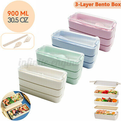 AU15.99 • Buy 900ML 3 Layer Lunch Box Leakproof Microwave Food Container Bento Box School Work