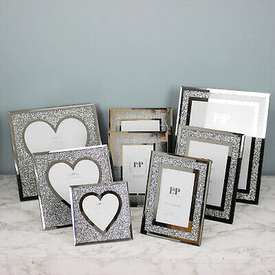 £16.95 • Buy Crushed Diamond Mirrored Picture Frames Silver Heart Shaped Photo Frame Display