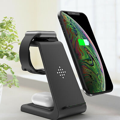 AU45.95 • Buy 3in1 Fast Wireless Charger Dock For Charging Samsung Galaxy Apple IPhone Watch