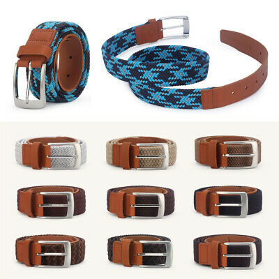 £5.99 • Buy Fashion Mens Womens Waist Belt Leather Canvas Woven Elastic Stretch Size 31-37IN