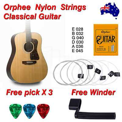 AU6.99 • Buy Nylon Guitar Strings Set Acoustic Classical Orphee Premium Universal 28-45