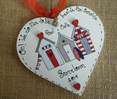 Beach Hut Plaques Personalised Seaside Xmas Gift Heart Signs  • 7.50£