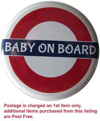 BABY ON BOARD Badge, LARGE Up To 55mm Pin Or Clip #1 • 2.30£