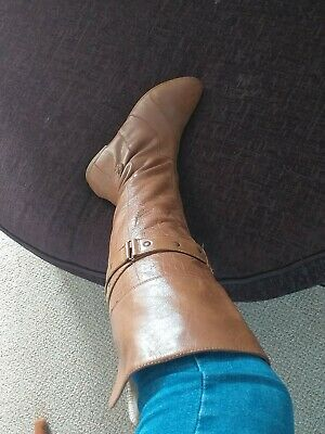 Redherring Over The Knee Tan Leather Boots Size 7 • 7.50£