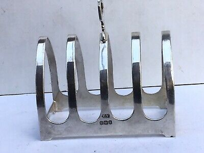 Excellent Vintage Solid Silver 4-Piece Toast Rack, Sheffield 1964 • 47.66£