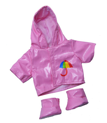 Pink Raincoat & Boots Teddy Bear Clothes Outfit To Fit 16  Build A Bear Bears  • 9.79£