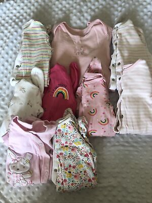0-3 Months Girls Baby Grows X9 • 9.50£