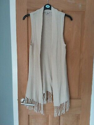 Ladies M & Co Sleeveless Knitted Long Waistcoat With Tassles Beige Size 14 • 1.99£