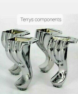 4x CHROME FURNITURE FEET LEGS FOR SOFA, BEDS, CHAIRS, STOOLS, TABLE PRE DRILLED • 34£