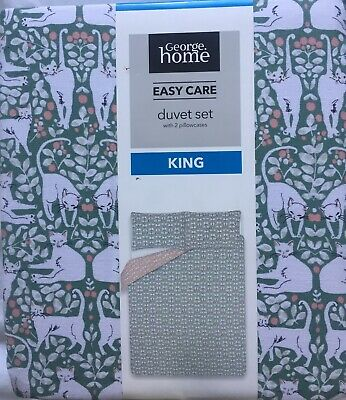 George Asda Home Cats Reversible Duvet Cover Set Green/Pink King Size *New* • 14£