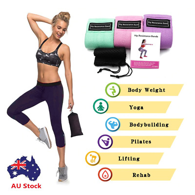 AU17.05 • Buy Resistance Booty Bands Set 3 Fabric Hip Circle Bands Workout Exercise Guide+Bag