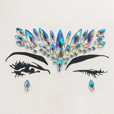 Face Gems Adhesive Glitter Jewel Tattoo Sticker Festival Rave Body Make Up Party • 2.39£