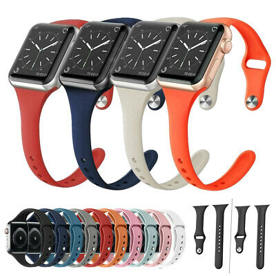 $ CDN7.23 • Buy For Apple Watch Series 5 4 3 2 1 Silicone Replacement Slim Strap Band 38 40 42mm