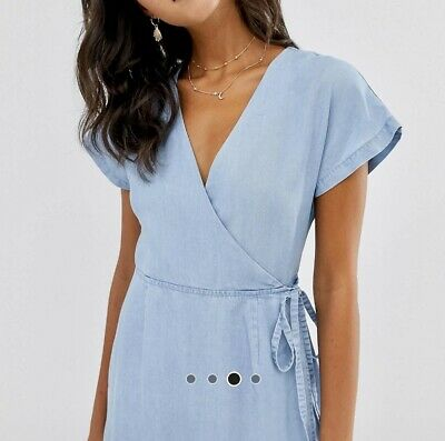 AU18 • Buy Bnwt Asos Chambray Denim Wrap Dress Sz 10-12