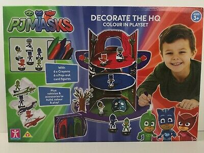 PJ Masks Decorate The HQ Colour In Playset Build & Play Boys Toy Art Colouring • 12.99£