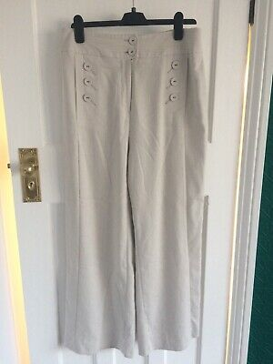 Laura Ashley Striped Linen Wide Leg Trousers With Buttons UK Size 14 • 4.99£