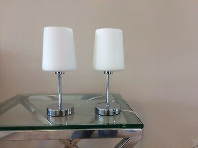 Pair Of Bedside Lamps White Shades Glass Base • 15£