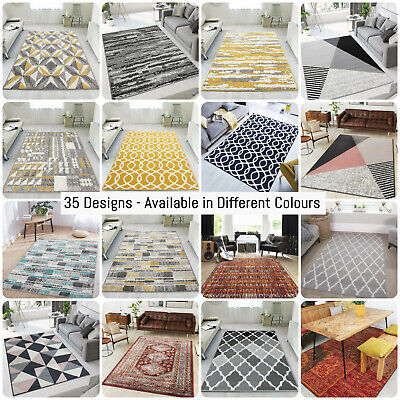 Affordable Living Room Rugs Modern Geometric Rug Small Large Rugs Hall Runners • 11.95£
