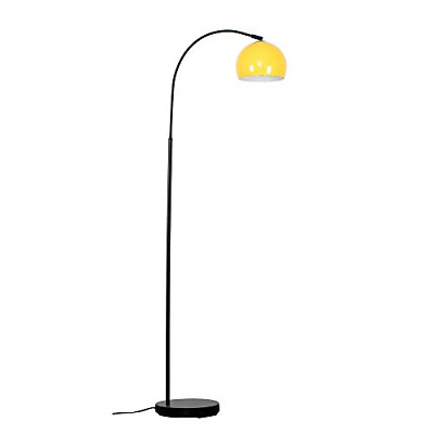 Modern Designer Style Black Curved Stem Floor Lamp With A Gloss Yellow Arco Dome • 46.13£