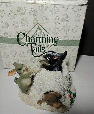 NIB Charming Tails Fitz & Floyd  Team Igloo  Figurine Squirrel Rabbit Mouse LE • 11.10£