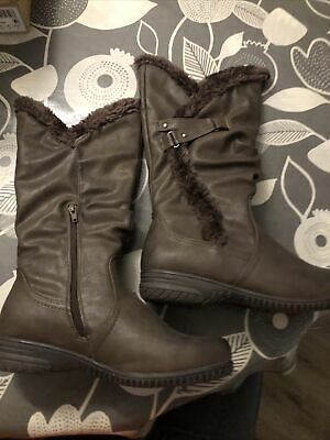 Ladies PAVERS Brown Faux Leather Calf-length Winter Boots Size 6.5 Exc Cond • 25£