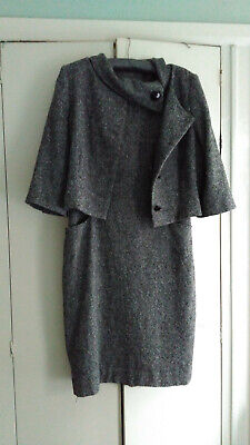 Hobbs Black & Tweed Suit Dress And Jacket - Size Uk 14 • 40£