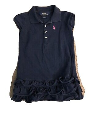 Polo Ralph Lauren Girls Dress Age 3 Navy/pink Good Used Condition • 8£