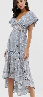 AU60 • Buy ASOS Design Flutter Sleeve Midi Dress In Corded Lace Sz 10